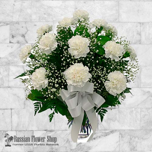 Send arrangement of 15 white carnations to russia flower delivery send arrangement of 15 white carnations to russia flower delivery to moscow saint petersburg and other cities of russia flower russia mightylinksfo